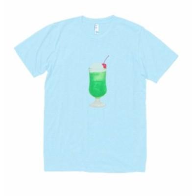 食べ物 野菜 Tシャツ メロンフロート 水色