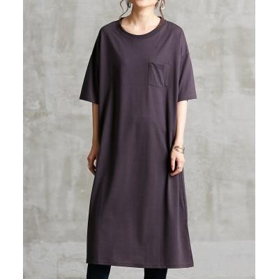 胸ポケット付マキシ半袖ワンピース (ワンピース)Dress