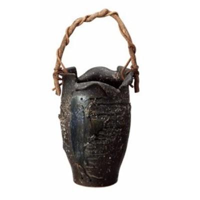 信楽焼 陶器 傘立 和風 モダン 洋風 黒ビードロつる付傘立て 高さ48.0cm(つるの部分は含みません)