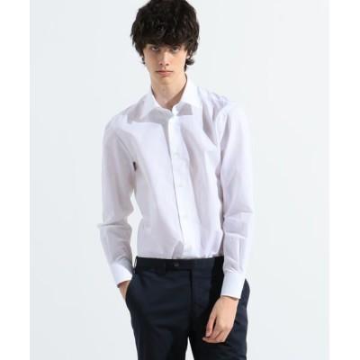 TOMORROWLAND/トゥモローランド 120/2ギザコットンリネンシャンブレー セミワイドカラー ドレスシャツ ALUMO ZEPHIR LINO 11 ホワイト 40