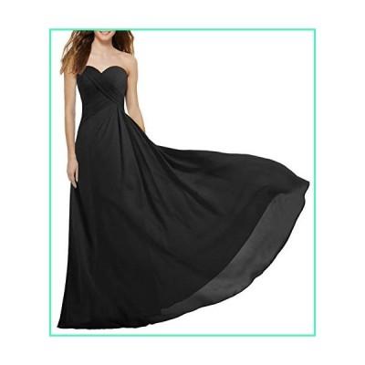 ANTS Women's Strapless Long Bridesmaid Dresses Chiffon Wedding Prom Gown Size 2 US Black並行輸入品
