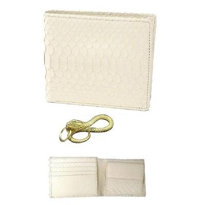 白蛇 金運 アップ 二つ折り財布 高級 錦蛇 表裏 無双 札入 本革 パイソン レザー 日本製 (黄金蛇)