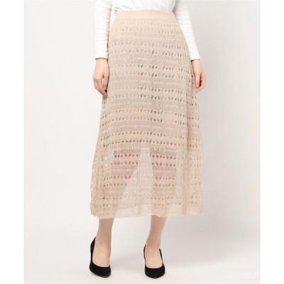 スカート 透かしシアーニットスカート