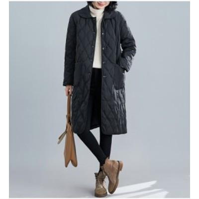 送料無料 コート ロングコート キルトコート アウター 中綿 中綿コート カジュアル シンプル きれいめ オフィス 秋 冬 暖かい レディース
