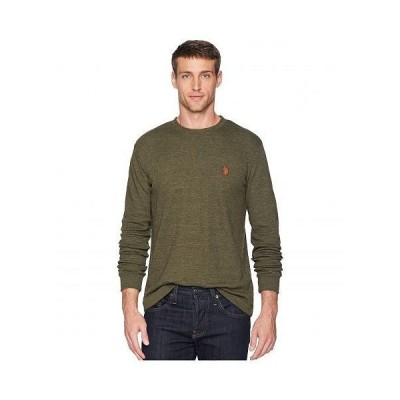 U.S. POLO ASSN. USポロ メンズ 男性用 ファッション Tシャツ Long Sleeve Crew Neck Solid Thermal Shirt - Army Heather