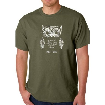 エルエーポップアート メンズ Tシャツ トップス  Word Art Graphic T-Shirt - Owl