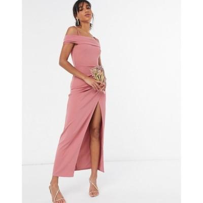 リトルミストレス ミディドレス レディース Little Mistress cold shoulder bridesmaid dress in side split in rose pink  エイソス ASOS sale ピンク