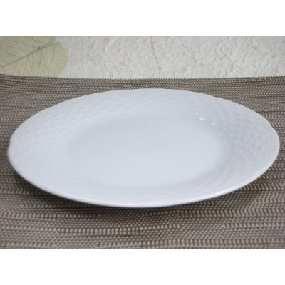 白い食器・Woven Bamboo Pattern16.5cmプレート [美濃焼/日本製/陶磁器/洋風/パン/デザート/ケーキ/ホワイト/中皿/レストラン/カフェ/アウトレット]