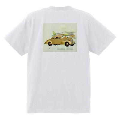 アドバタイジング オールズモビル 712 白 Tシャツ 黒地へ変更可 1937 ロケット アメ車 アドバタイズメント 看板 広告 雑誌