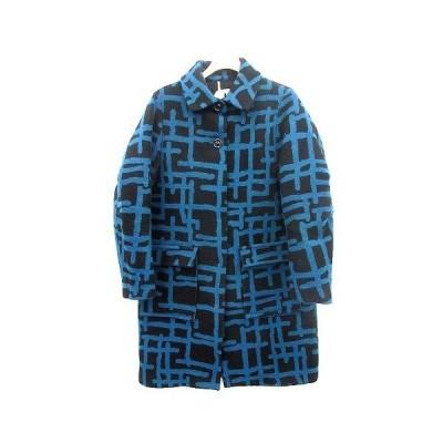 【中古】オキラク OKIRAKU コート ステンカラー ロング 総柄 0 青 黒  /☆G レディース 【ベクトル 古着】