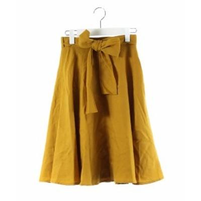 【中古】アプワイザーリッシェ Apuweiser-riche スカート フレア 膝丈 ウール リボン 黄色 マスタード 1 レディース
