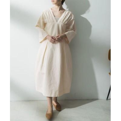 URBAN RESEARCH/アーバンリサーチ ELIN Stripegatheredcorsetdress Off white 36