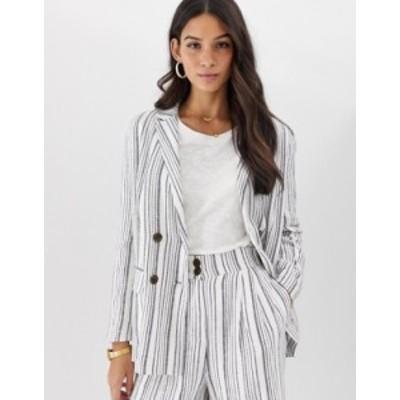 エイソス レディース ジャケット・ブルゾン アウター ASOS DESIGN gutsy linen relaxed blazer in stripe Stripe