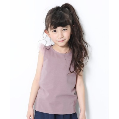 devirock / 肩チュールノースリーブTシャツ KIDS トップス > Tシャツ/カットソー
