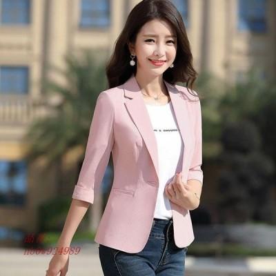 7分袖 ブラック オフィス サマージャケット ピンク テーラードジャケット 大きいサイズ 細身ジャケット 夏 通勤 OL レディース 着痩せ