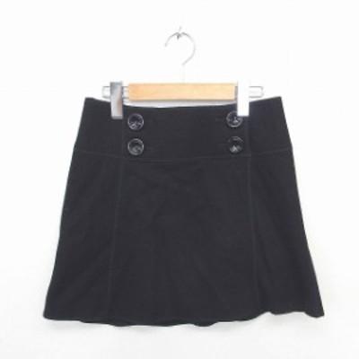 【中古】ジルスチュアート JILL STUART スカート 台形 ミニ ウール バックジップ ボタン装飾 2 黒 ブラック /TT2