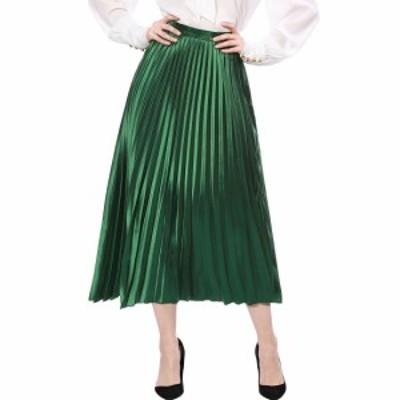 Allegra K プリーツスカート アコーディオンスカート ハイウエスト メタリック ロングスカート ウェストゴム グリーン L