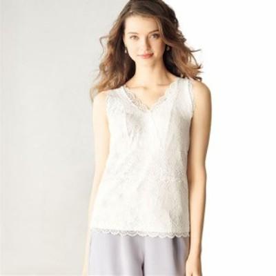 女性下着 レディース 肌着 インナー インナーシャツ アンダーシャツ カップ付き総レースタンクトップ(ノンワイヤー) M L LL|2655-415038