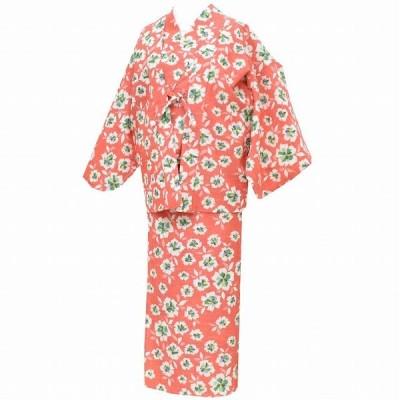 リサイクル 女性 着物 羽織 アンサンブル 交織 二部式 裄65cm 赤色系 花文様 mm3051b