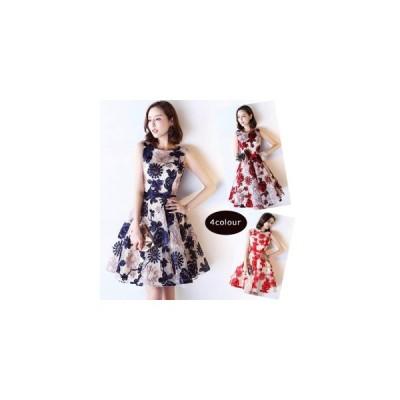 パーティードレス 膝丈 ミニドレス 結婚式ドレス お呼ばれドレス ウェディングドレス 花柄 刺繍 発表会 編み上げ ワンピース 二次会ドレス ショートドレス