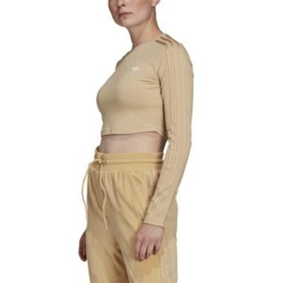アディダス レディース Tシャツ トップス adidas Originals Cropped Long Sleeve Hazy Beige