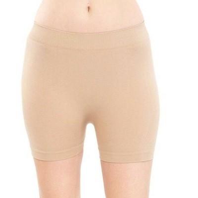 ヨガ レギンス インポート  Beige Women  Seamless Solid Stretch Shorts Spandex Leggings Yoga Biker(ONE SIZE)