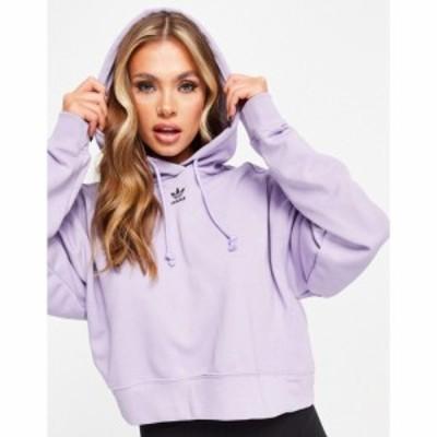 アディダス adidas Originals レディース パーカー トップス Trefoil Essentials logo hoodie in purple パープル