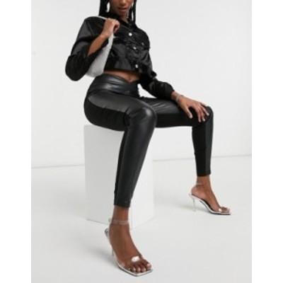リバーアイランド レディース レギンス ボトムス River Island faux leather ponte mix waistband leggings in black Black