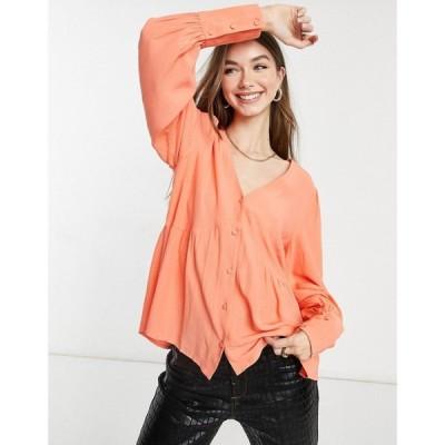 ワイ エー エス Y.A.S レディース ブラウス・シャツ Vネック トップス smock blouse with v-neck in coral pink コーラル
