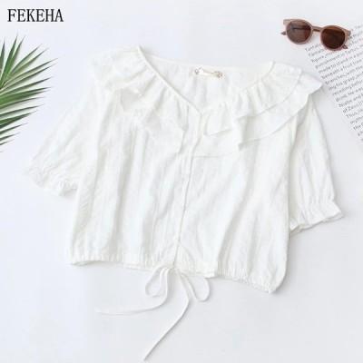 夏のシフォンブラウス女性の白いシャツVネックルーズ半袖レディトップス女性の服