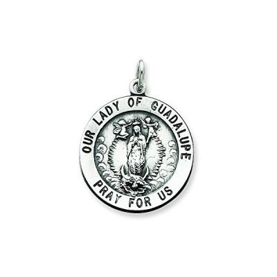 スターリング シルバー Our レディ Of Guadalupe メダル ペンダント ネックレス w/チェーン(海外取寄せ品)