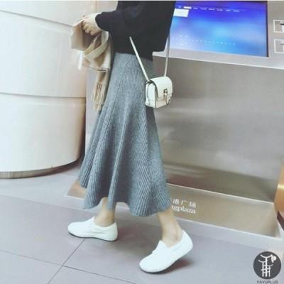 ニットスカート Aライト プリーツスカート マキシスカート ミモレスカート ロング フレア 体型カバー ハイウエスト