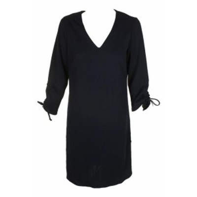 Nine West ナインウエスト ファッション ドレス Nine west navy blue 3/4 tie-sleeve v neck straight dress