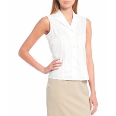 カルバンクライン レディース シャツ トップス Petite Size Button-Down Sleeveless Woven Shirt White