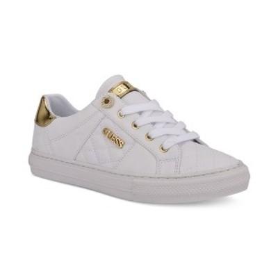 ゲス レディース スニーカー シューズ Women's Loven Quilted Lace-Up Sneakers White