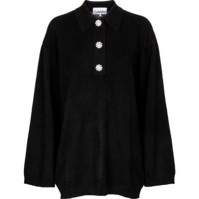 ガニー Ganni レディース ニット・セーター トップス Embellished cashmere sweater Black