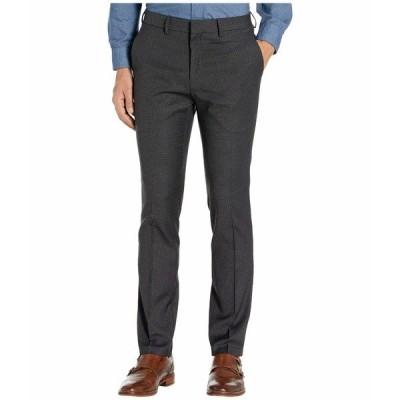 ケネスコール カジュアルパンツ ボトムス メンズ Stretch Micro Check Houndstooth Skinny Fit Flat Front Dress Pants Charcoal