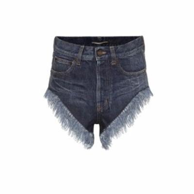 イヴ サンローラン Saint Laurent レディース ショートパンツ ボトムス・パンツ Fringed high-rise denim shorts Indigo Blue