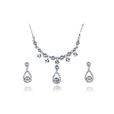 クラッシー フォークス パール スワロフスキー クリスタル Element Bridal Earring ネックレス セット(海外取寄せ品)