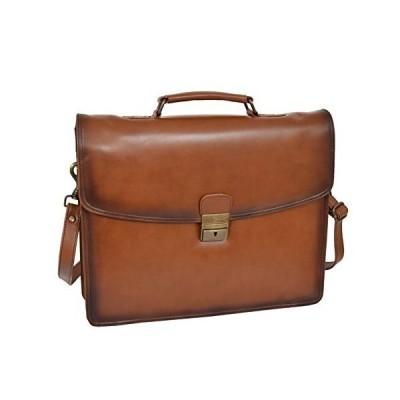 Mens Briefcase Italian Leather Slim Satchel Antique Vintage Tan Business Bag Boris【並行輸入品】