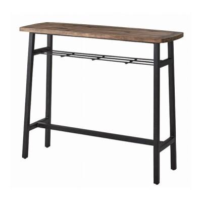 カウンターテーブル 幅120×奥行45×高さ101 天然木 パイン ラッカー塗装 アイアン 代引不可