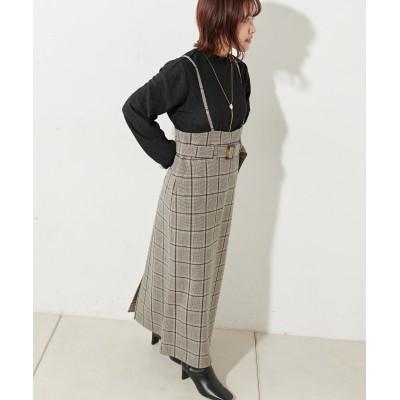 肩紐付きチェックナロースカート