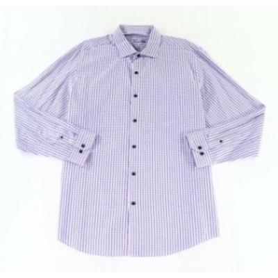 ファッション ドレス Tasso Elba Mens Dress Shirt Purple Size 2XL Button-Front Geo-Print