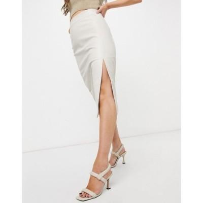グラマラス レディース スカート ボトムス Glamorous midi skirt in faux leather