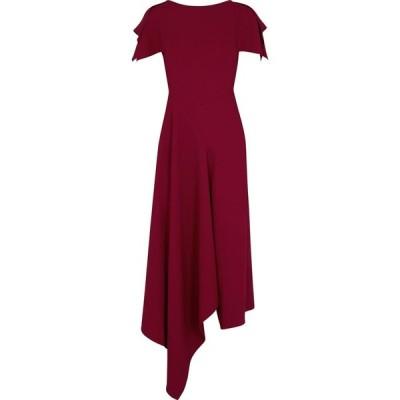 ローラン ムレ Roland Mouret レディース パーティードレス ミドル丈 ワンピース・ドレス Warren Red Asymmetric Midi Dress Red
