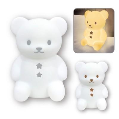 こぐまのおやすみライト ミニサイズ 誕生日 プレゼント ハシートップイン EX-3035 EX-3036 電池式 シリコン LEDライト くま クマ 寝室 グレー ブラウン