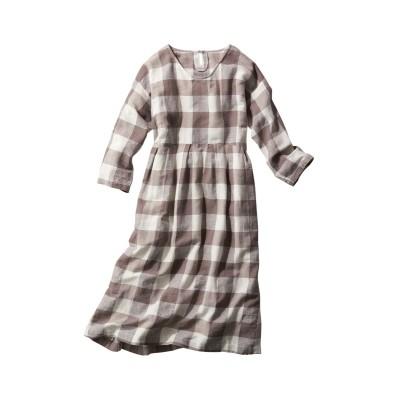 【大きいサイズ】 麻混ブロックチェックワンピース(インザグルーヴ) ワンピース, plus size dress