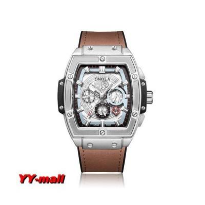 腕時計 メンズ トノースクエア 機械式腕時計 Brown-Silver