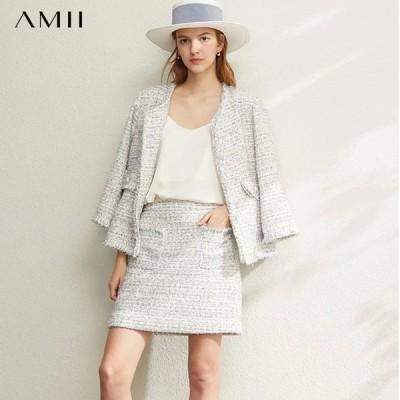 海外輸入アパレル Amii OfficeLadyエレガントツーピースセット春の女性スウィートジャケットハイウエストミニスカート女性スーツ1204010