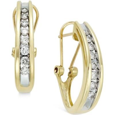 メイシーズ Macy's レディース イヤリング・ピアス Diamond Channel-Set J-Hoop Earrings (1/2 ct. t.w.) in 10k White or Yellow Gold